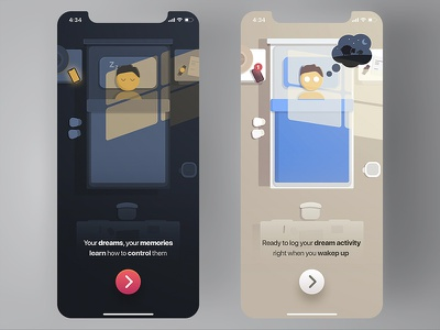 Dream App - Client memories night apple flat design illustration lucid sleep iphone app ios dream