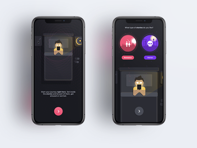Choose your path, Lure illustration horror romance choose conversation appstore lure chat read stories bed night black dark interface app mobile ios ux ui