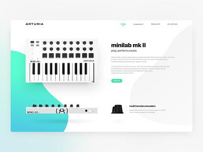 Arturia Web concept store clean white shadows anamorphic flat webpage webdesign design web concept midi minilab arturia