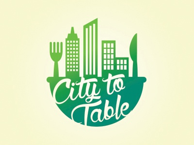 City to Table logo austin grow agriculture farming sustainable city to table fruit vegetables food garden illustration logo
