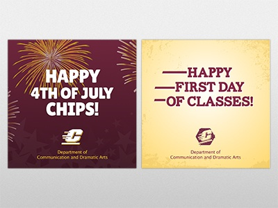 Social Media graphics for CMU facebook instagram twitter school spirit gold maroon college university school commemorative holiday social media