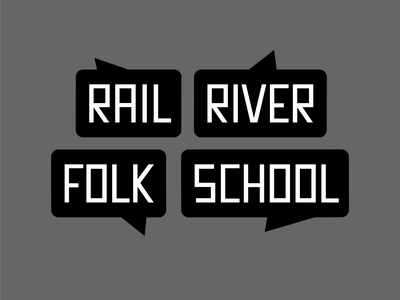 Rail River Folk School Logo railroad river folk school community ideas hear share voices communicate speech logo design brand logo