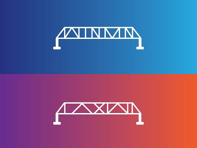 Mid West Music Fest - Bridges gradient color logo icon illustration gradient bridge wisconsin la crosse minnesota winona driftless mississippi  river midwest festival music