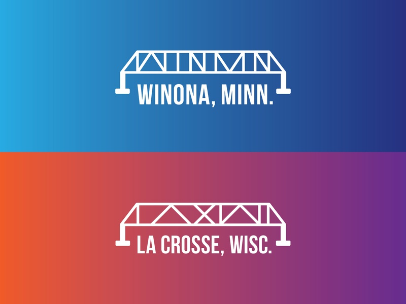 Mid West Music Fest - Bridge Towns festival music midwest bridge la crosse winona minnesota icon gradient wisconsin typography logo illustration driftless branding design
