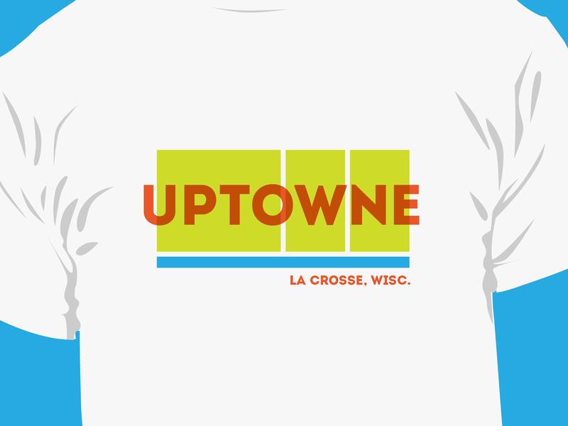 Uptowne T-shirt downtown wisconsin screenprint driftless typography logo branding design