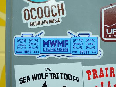 Mid West Music Fest Sticker sticker typography branding design midwestmusicfest logo madeinmn driftless winonaminnesota livemusic