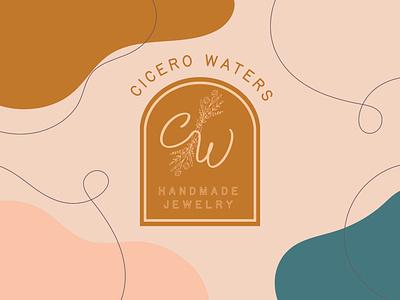 Cicero Waters Jewelry logo design desert natural organic floral vintage jewelry logo