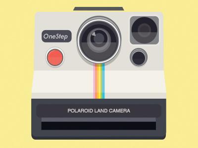 Polaroid Land Camera camera polaroid vintage analog film instant photography icon illustration vector graphic design