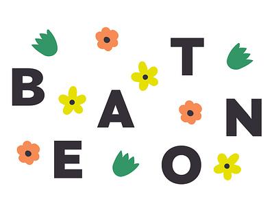 Beaton Linen spring folk art flowers floral wordmark logo illustration design