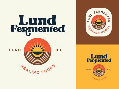 Lund Fermented moon sun labels food 70s retro branding illustration vintage design logo
