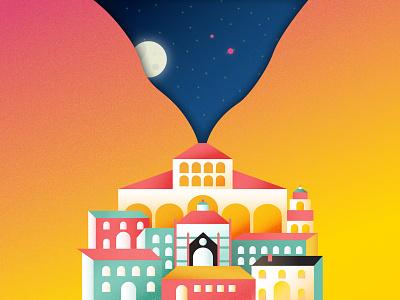 Pistoia Illustration italy buildings gradient vector illustration