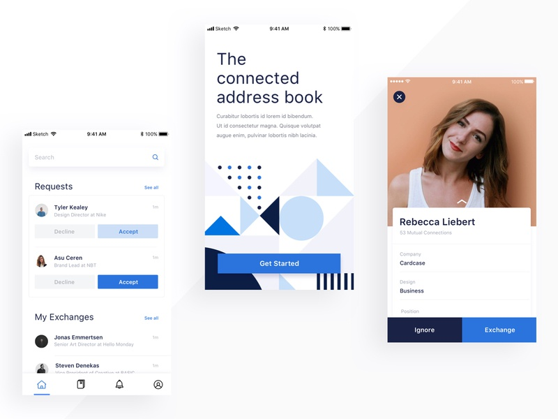 From the Archives: Connected Address Book geometric pattern branding design product design mobile ux mobile app app ui