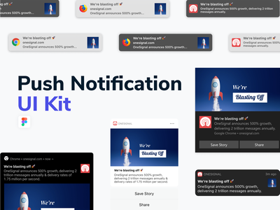 Push Notification UI Kit push notifications interface app ui iphone download component mobile web android macos windows ios notification freebie uikit messaging push figma