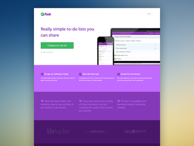 Landing page for Flask.io