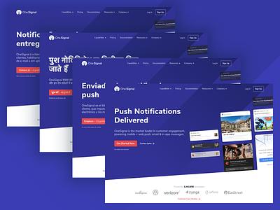 OneSignal Website hiring developer button personalization localization website abtesting product landing page onesignal push hero web design