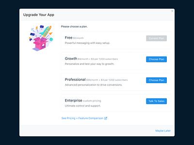 OneSignal Upgrade Modal dialog upsell modal upgrade push website interface app developer ui button