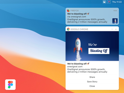 macOS Big Sur Push Notifications push notification figma design system uikit message ios web notifications push onesignal