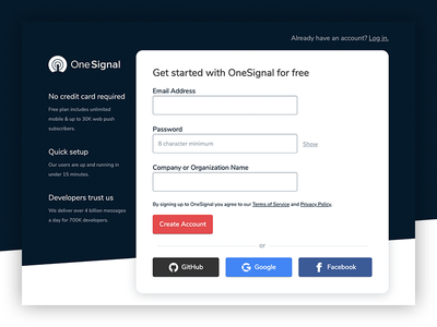 OneSignal Signup Form push notifications push developer oauth growth saas website sign up interface ui dashboard app form login signup cta button