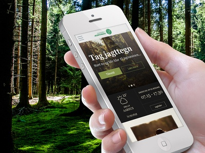 Danish Hunters' Association mobile ui weather green webdesign nature hunting hunt