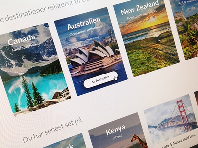 Cards thumbnal travelling interface hover travel cards destination