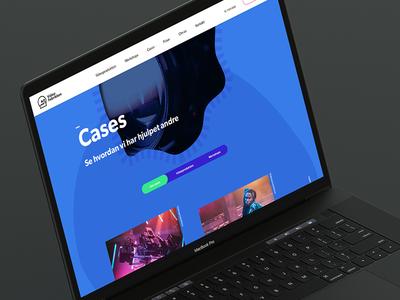 Videofabrikken desktop landingpage video tabs fluent cases caselist blue