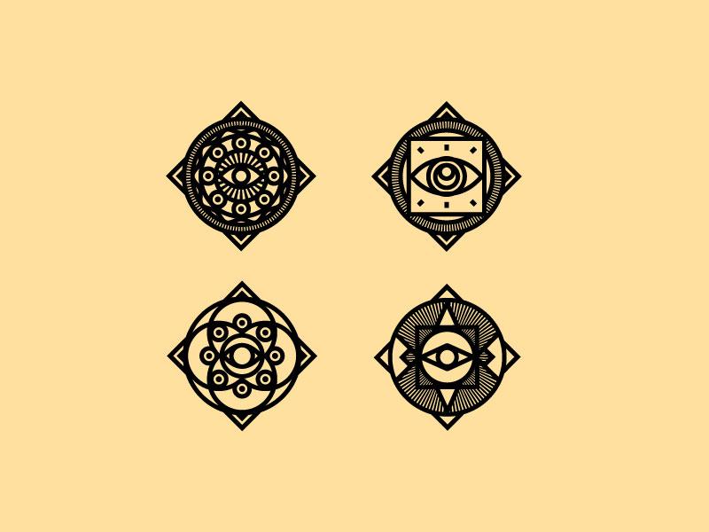 Goofing random geometric tan badge symbol eyes