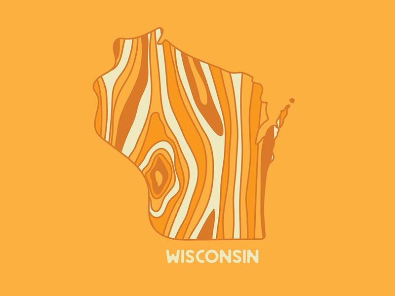 Wisconsin vector cheese wood text type logo line yellow wisconsin