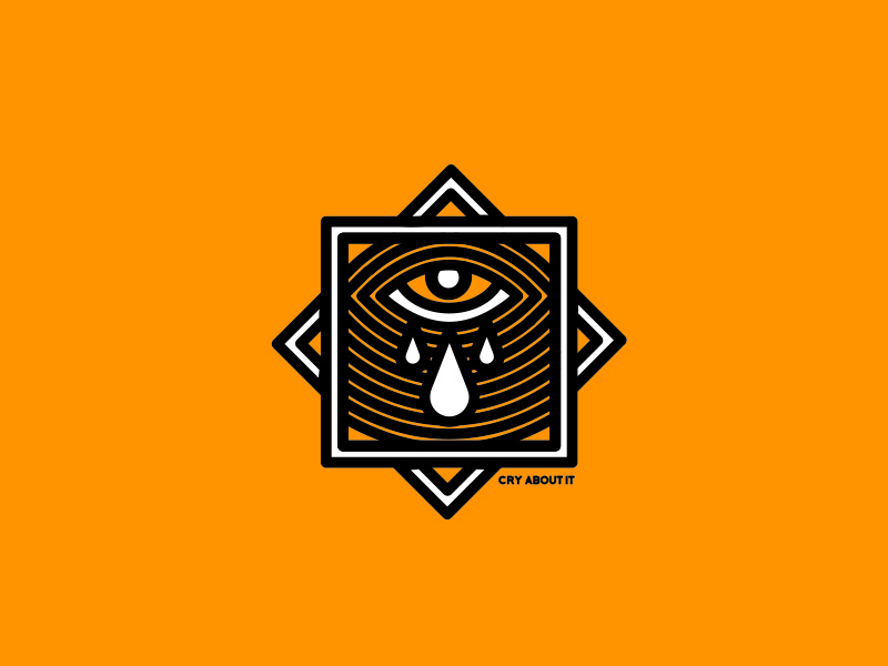 Cry About It drop yellow studio there out work line eye vector