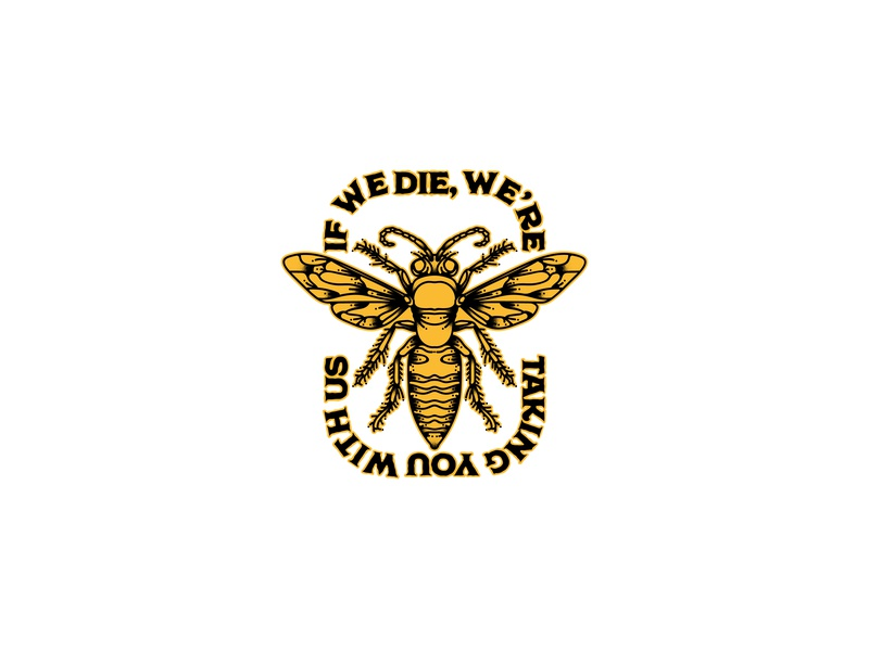 Bee illustration yellow vector logo bugs nature badge bee