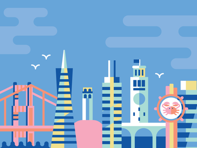 san francisco crab buildings transamerica pyramid coit tower skyline golden gate bridge fishermans wharf bay illustration city