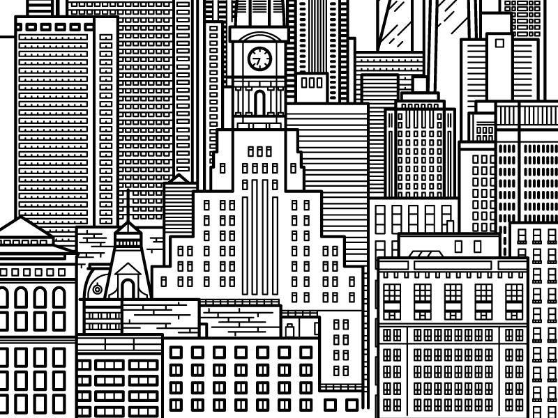 philly, part one city hall stroke line illustration buildings windows skyline city philadephia