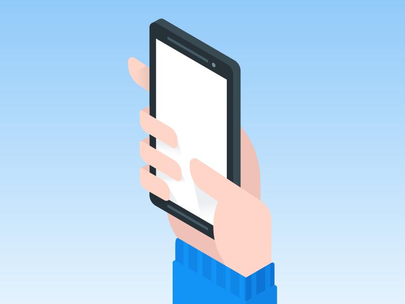 untitled illustration nexus phone hand isometric flat paper