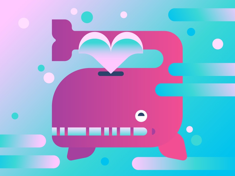 trippy grin bubbles illustration gradient neon psychedelic fish ocean