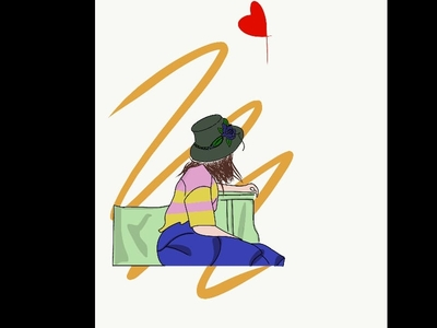 Illustration of a girl sitting noteworthy new inspiration clear design clean ui color latest 2020 trendy behance simple easy icon branding shot vector dribble illustration design