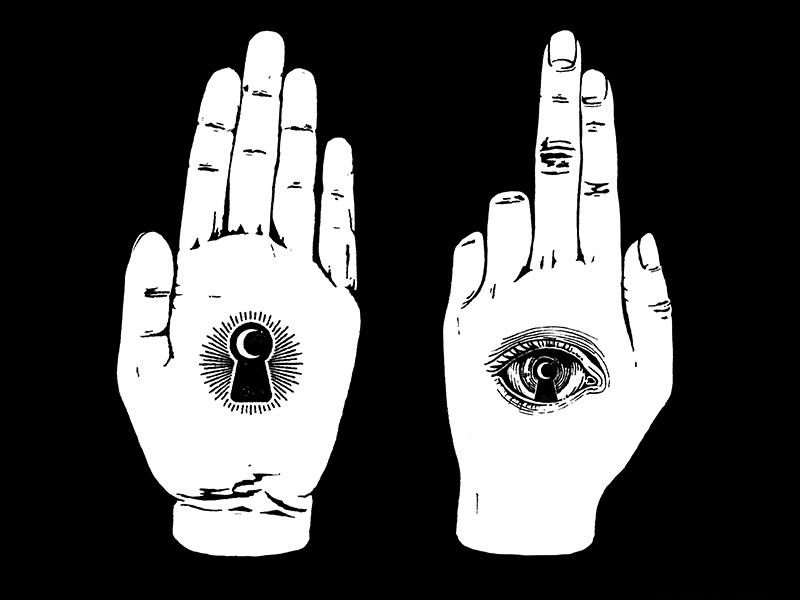 Keeper secret midnight press eye keyhole hand ink pen drawing illustration design tshirt