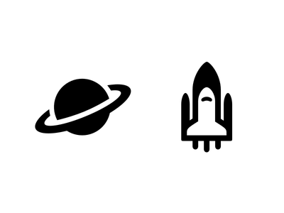 Space icons - saturn & spaceshuttle astro space glyphs icons
