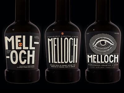 Melloch Label redesign custom type bottle label