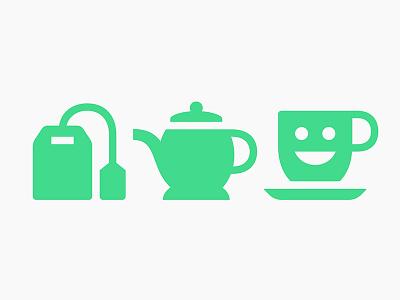 Teatime happy mug kettle tea stroke symbols pictograms icons
