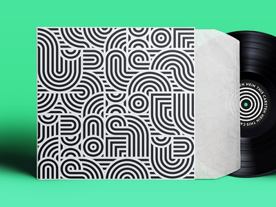 Tease this sleeve stripes. black and white pattern music cover label sleeve vinyl