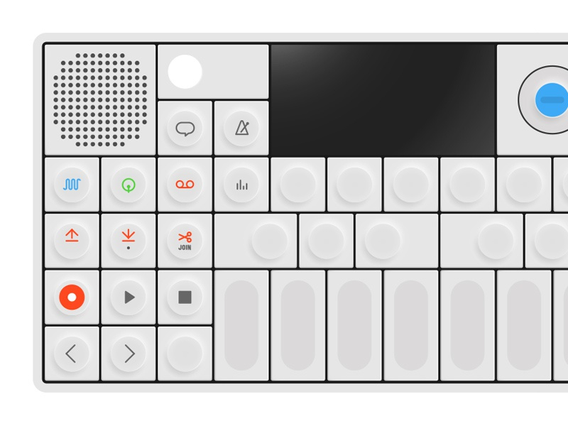 OP-1 illustration rendering synthesizer icons buttons gadget