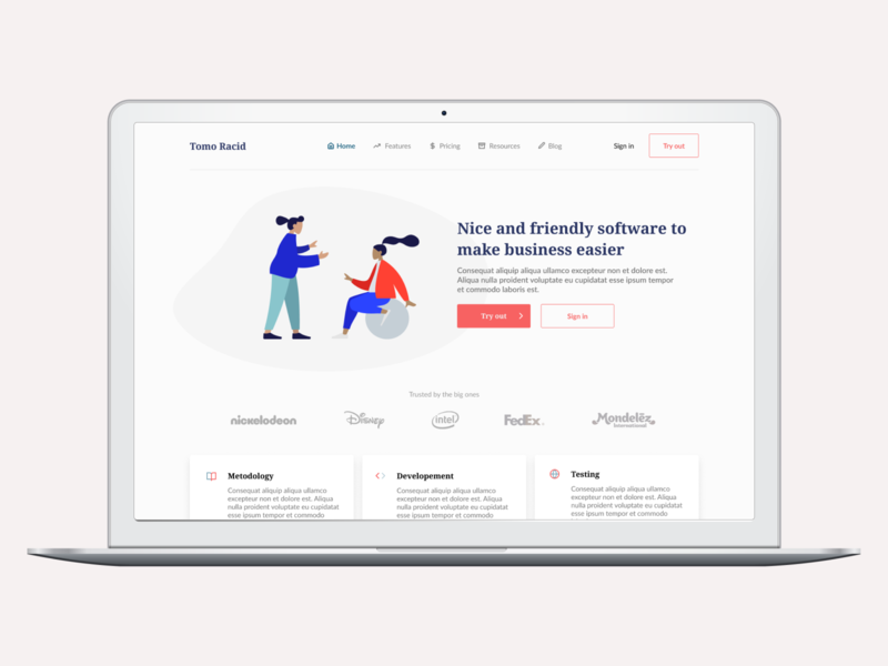 Home page concept for business tool