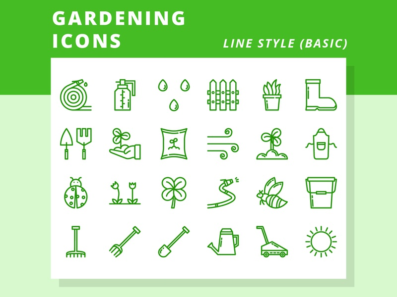 Gardening Line Style (2) green farming nature plant garden farm gardening minimal illustrator vector icon