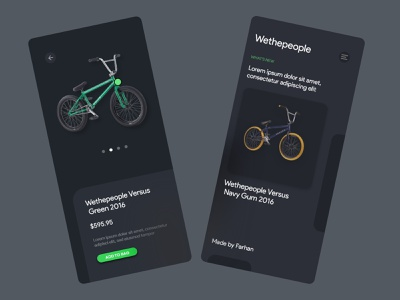 e-Commerce Bmx Bike Mobile App dark app dark biker bike typography ux ui branding uiuxdesign uiux