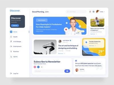 Discover News website design web design ui uiuxdesign webdesign uiux