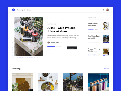 Crowdfunding — Visual Concept hero home web design website white blue images photography clean minimal crowdfunding web flat