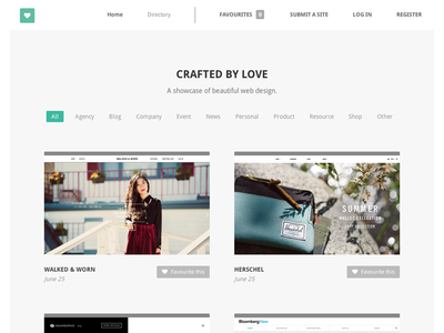 Crafted By Love web design showcase gallery site minimalist flat typography
