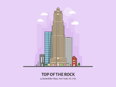 Top of the Rock building purple flat rockefeller top of the rock illustration