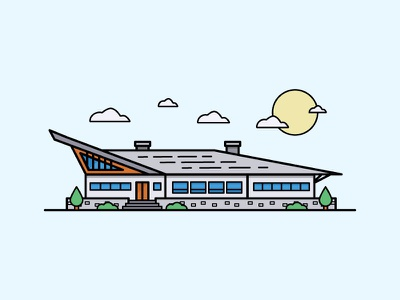 Clubhouse window roof cloud sun trees building stroke illustration vector clubhouse