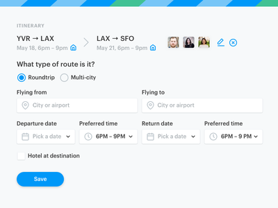 Travel Form airport booking date avatar input checkbox radio icons blue form travel web