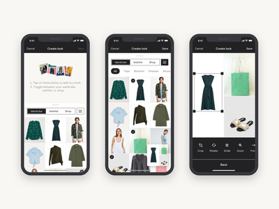 Creating Looks fashion clothing looks outfits wardrobe iphonex create tools empty ios style edit